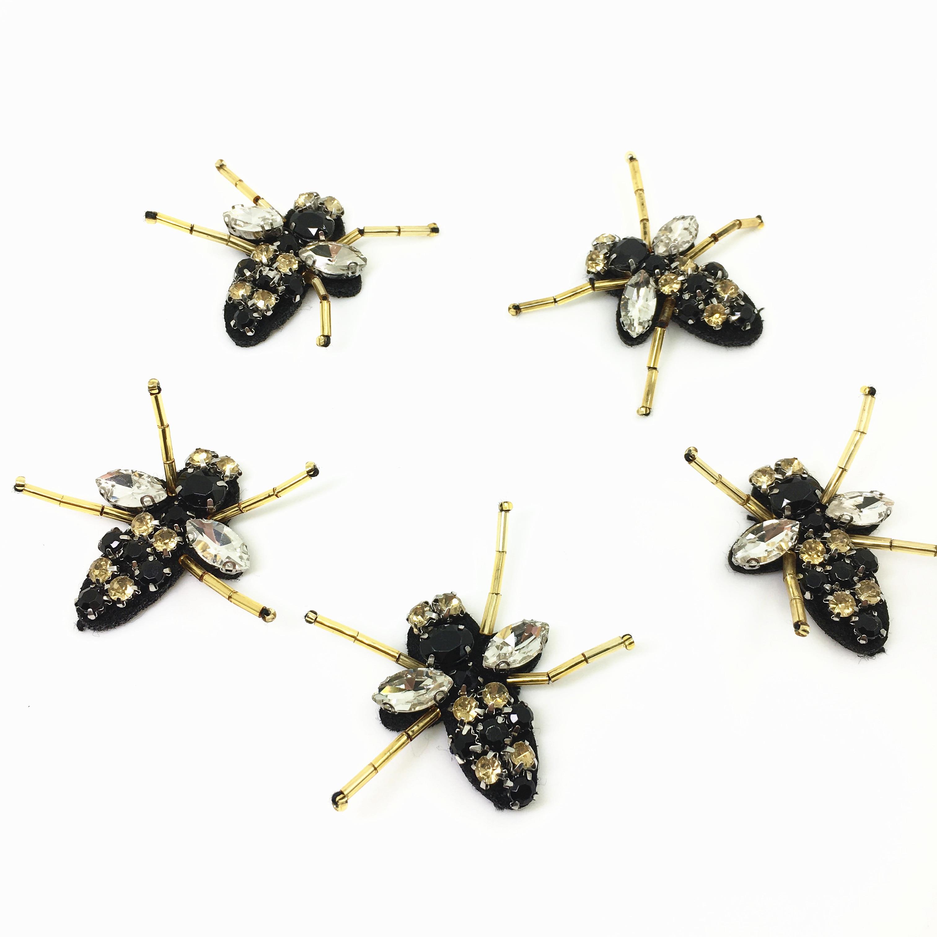 20pc Sy på Beaded Patch Crystal Bee Applique Patches För Klädskor - Konst, hantverk och sömnad - Foto 6