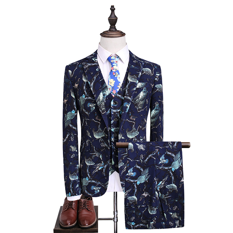 Loldeal Mens Wedding Prom Party Suits Navy Blue Floral Ternos Noivo Smoking Terno Dos Homens Set Fino Plus Size 5XL ...