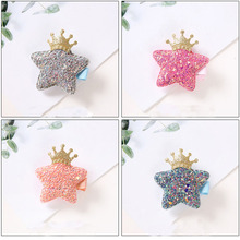 New1pcs Bestseller New Childrens Cute Hair Clips Crown ive-pointed star Safe Hairpins BB Clip For Little Girls Gifts Baby