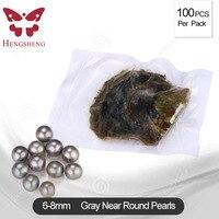 100 шт вакуумная упаковка 6 8 мм серый морской жемчуг Oyster, высококачественный AAA округлый жемчуг для женщин DIY маркировка