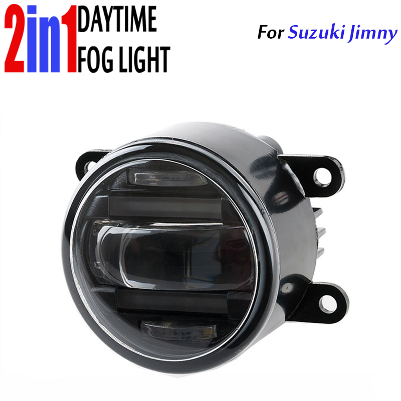 LED Round Daytime Driving Running Light DRL Car Fog Lamp Ledriving Ledfog High Power 2in1 LEDfog for Suzuki Jimny