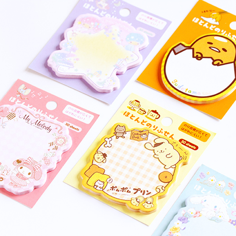 1 Pcs Lovely Melody Twin Star Gudetama Purin Dog Self Adhesive N Times Memo Pads Sticky Notes Bookmark Stationery Gifts