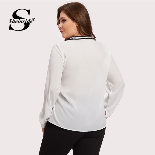Sheinside Plus Size Chiffon White Tie Neck Ladies Top Women Long Sleeve Solid Elegant Autumn 2018 Womens Tops and Blouses 1