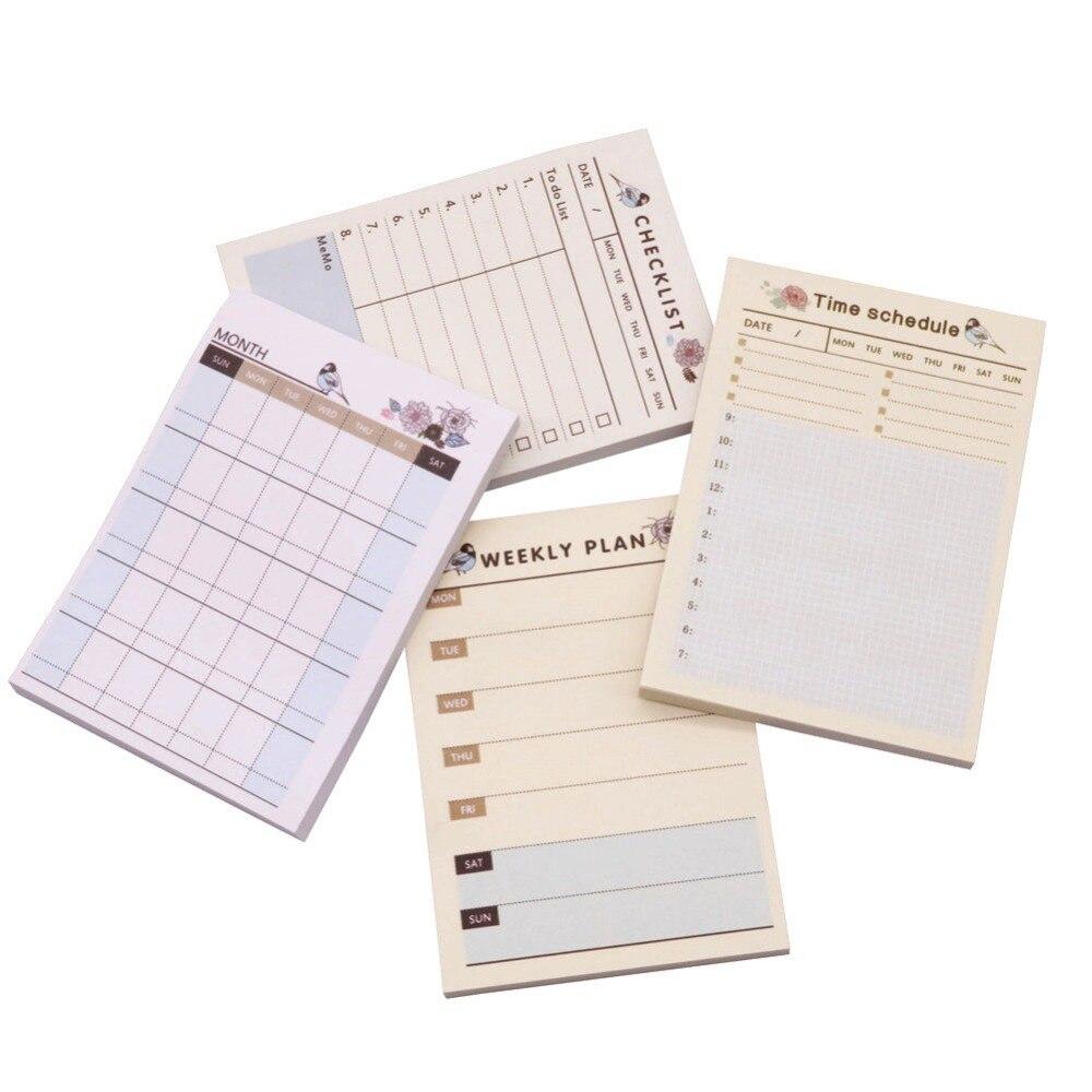 Notebooks Modestil 4 Stücke Zeit Zeitplan Checkliste Wöchentlich Plan Monat Vier Stile Sind Verfügbar 58-60 Blätter 101*72*7mm Student Notizen Büro Papier Notebooks & Schreibblöcke