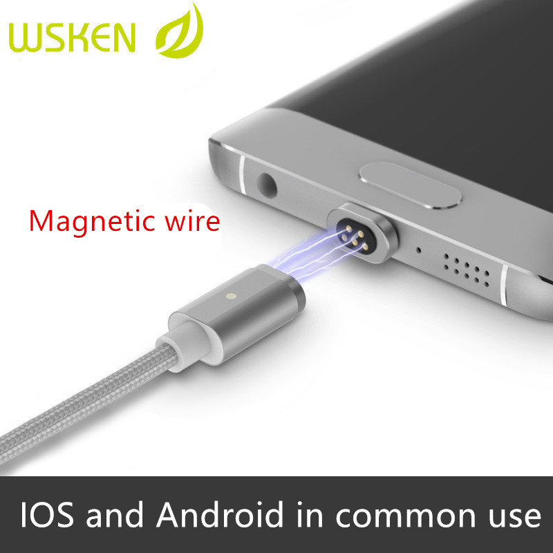 Wsken Magnet Charging Cable Phone Cables for Android Lightning Port Smart Charging Cables for Huawei Apple