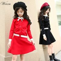Toddler Girls Clothing Sets 2018 New Autumn Winter Red Black Knitted Suits Long Sleeve Sweater+Skit 2Pcs Kids Suits for 5Y 14Y