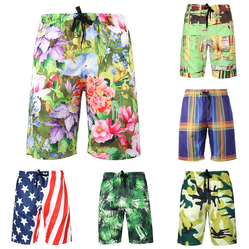 CALOFE Floral Printed Mens Quick Dry Swim Shorts Plus Size Elastic Loose Beach Short Pants Swimming Bottoms 2018 Surfing Shorts