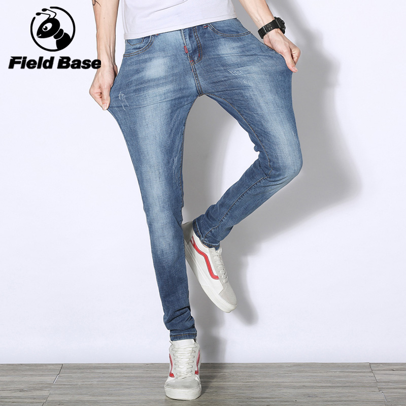 Brand 2018 Men Jeans Business Casual Thin Summer Straight Slim Fit Light Blue Jeans Stretch Denim Pants Cowboys Young Man Homme