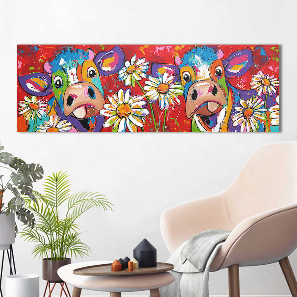 HDARTISAN Vrolijk Schilderij Wall Art Canvas Painting Animal Picture Cow Painting Poster Prints Home Decor No Frame