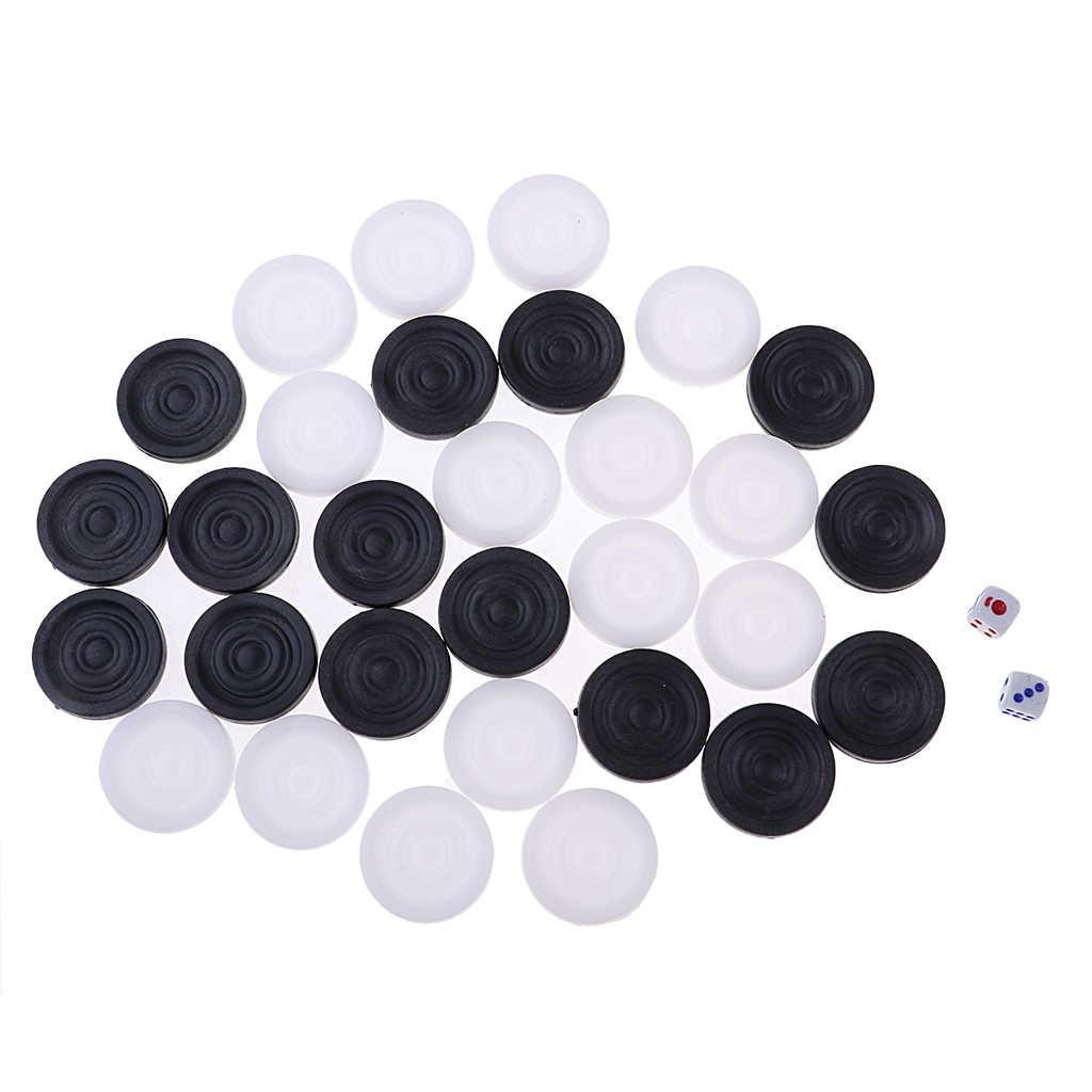 32 قطعة من البلاستيك لعبة الطاولة قطع الشطرنج Chessman 35 مللي متر مع 2 النردات للكبار الاطفال مجلس لعبة مدقق بيادق اكسسوارات