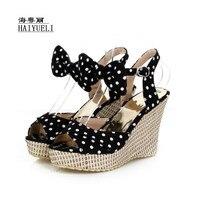 Women Sandals Summer Platform Shoes, Fish Toe Polka Dot Bow Wedges, Straw Braid Women's Shoes