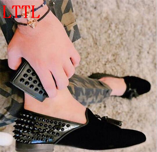 Newest LTTL Mens Tassel Loafers Fashion Black Casual Shoes Party and Wedding Men Rivets Slip On Flat Shoes zapatos hombres fashion tassels ornament leopard pattern flat shoes loafers shoes black leopard pair size 38
