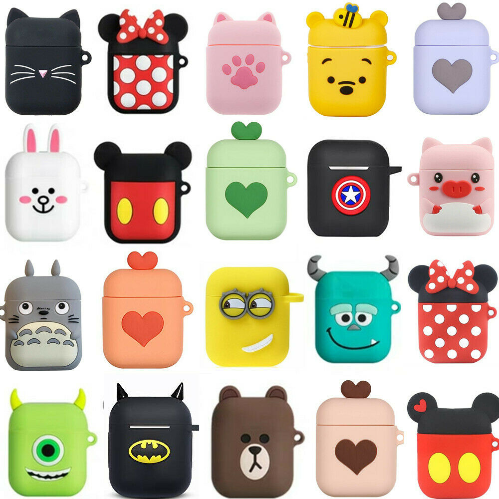 3D Cute Cartoon Earphone Case Soft Silicone Doll Case For Apple Airpods Wireless Bluetooth Headphone Cases Toys Full Cover