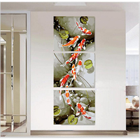 3 Panel 40 50cmx3 Fish And Lotus Painting By Numbers Canvas Oil Painting Wall Poster Modular