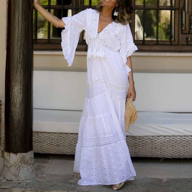 Летние Элегантные вечерние платья больших размеров в стиле бохо, белые простые женские длинные платья, повседневные платья с кисточками, женские модные платья макси