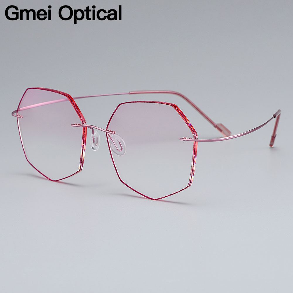 Gmei Optical Ultra-light Pink Titanium Alloy Women's Rimless Glasses Frame With Gradient Pink Tint Plano Lenses T80892