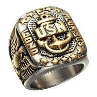 Monili di alta qualità in acciaio inox corpo dei marines anelli ip placcatura in oro di alta lucido aquila anello