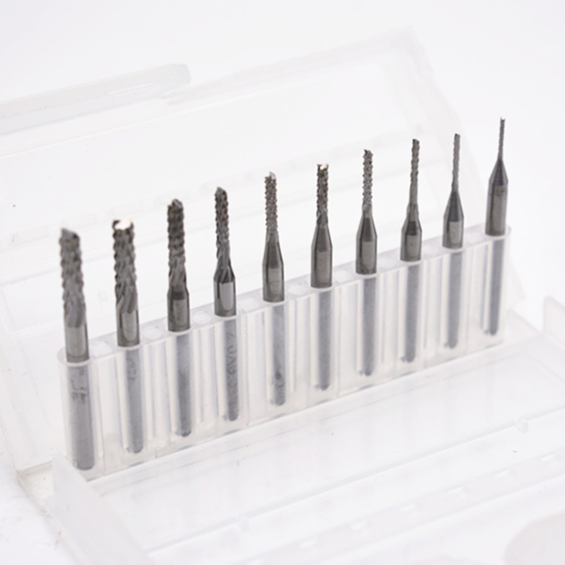10 pçs/set 1/8 0.8-3.175mm torção brocas cortador de gravura cnc rotativo final para pcb madeira metal broca bit ferramenta sliver