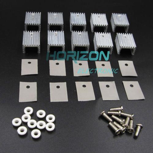 10pcs Aluminum Heatsink Heat Sink With Screw Sets Kits for TO-220 Transistors 200pcs pnp transistors bc637 to 92