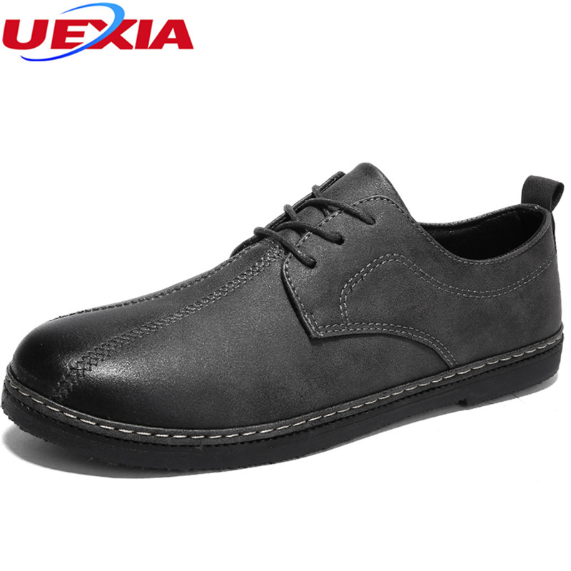 UEXIA New Arrival Leather Brogue Mens Lace-up Breathable Vintage Casual Men Shoes Loafers Fashion Breathable Designers Moccasins 2017 new spring imported leather men s shoes white eather shoes breathable sneaker fashion men casual shoes
