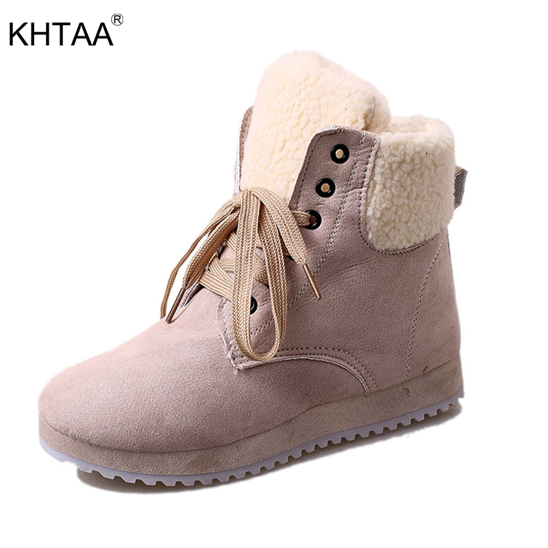 KHTAA Ladies Warm Plush Winter Ankle Snow Boots 2017 Woman Fashion Lace Up Suede Platform Casual Fur High Quality Black Botas 2016 rhinestone sheepskin women snow boots with fur flat platform ankle winter boots ladies australia boots bottine femme botas