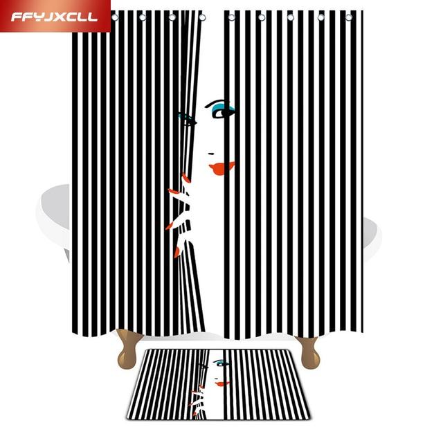 9 Style Fashion Girl Printing Polyester Fabric Waterproof Mildew Shower Curtain Eco Friendly Bathroom