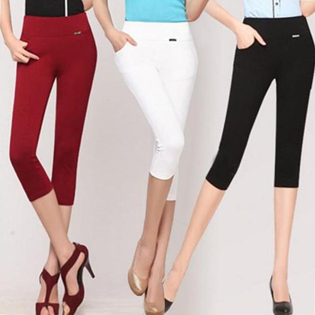 2018 Leggings de cintura alta para mujer verano elástico fino Capris lápiz pantalón talla grande S-6xl hasta la rodilla pantalones femeninos blanco y Negro