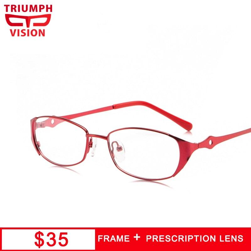 TRIUMPH VISION Myopia Glasses Women Red Metal Oval Frame Anti Blue Ray Eyeglasses Sepctacles Prescription Glasses Photochromic
