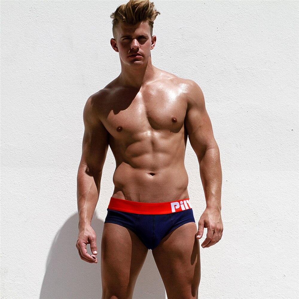 Pink Hero Hot Men Briefs Underwear Pure Cotton Pure Color -2797