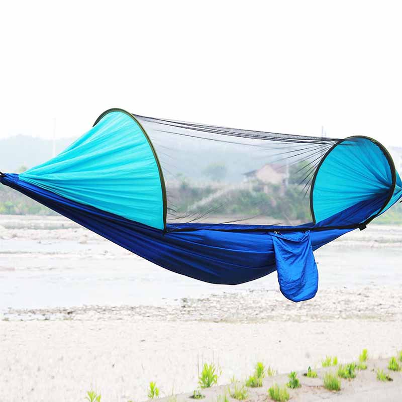 New Automatic Indoor Outdoor Camping Hunting Hammock with Mosquito Net Single Double Person Tabernacle Nylon Parachute Drop JY