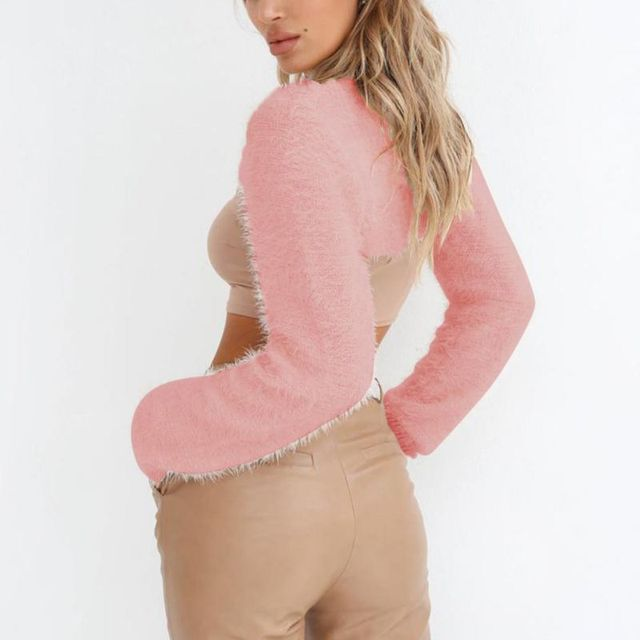 2018 Hot Sale Super Short Cardigan Women Sexy Basic Knitted Pullover Sweater Fashion Long Sleeve Casual Spring Autumn Sweater 6