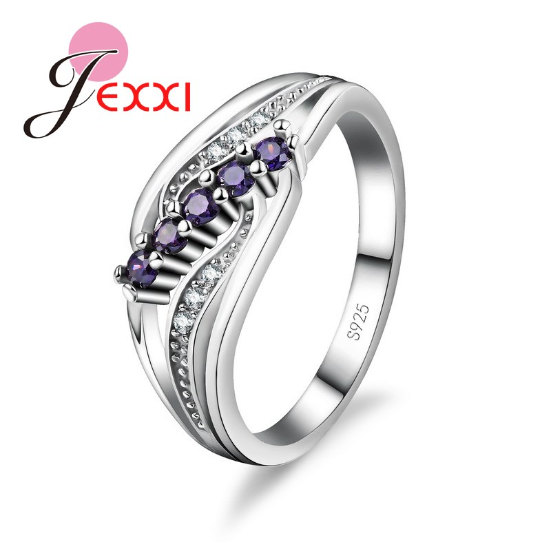 jexxi new jewelry creative design stainless 925 silver wedding rings anniversary gifts for women big crystal - Creative Wedding Rings