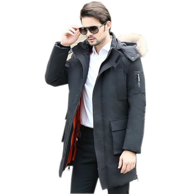 Luxury Black Real Raccoon Fur Collar Men s Winter Jacket Slim Hooded Duck  Down Jacket Men Coat 145326fa3