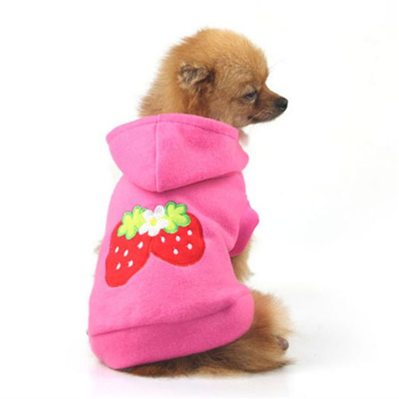 Small Dog Clothes Lovely Pet Puppy Dog Strawberry Hoodie Apparel Warm Coat Jacke