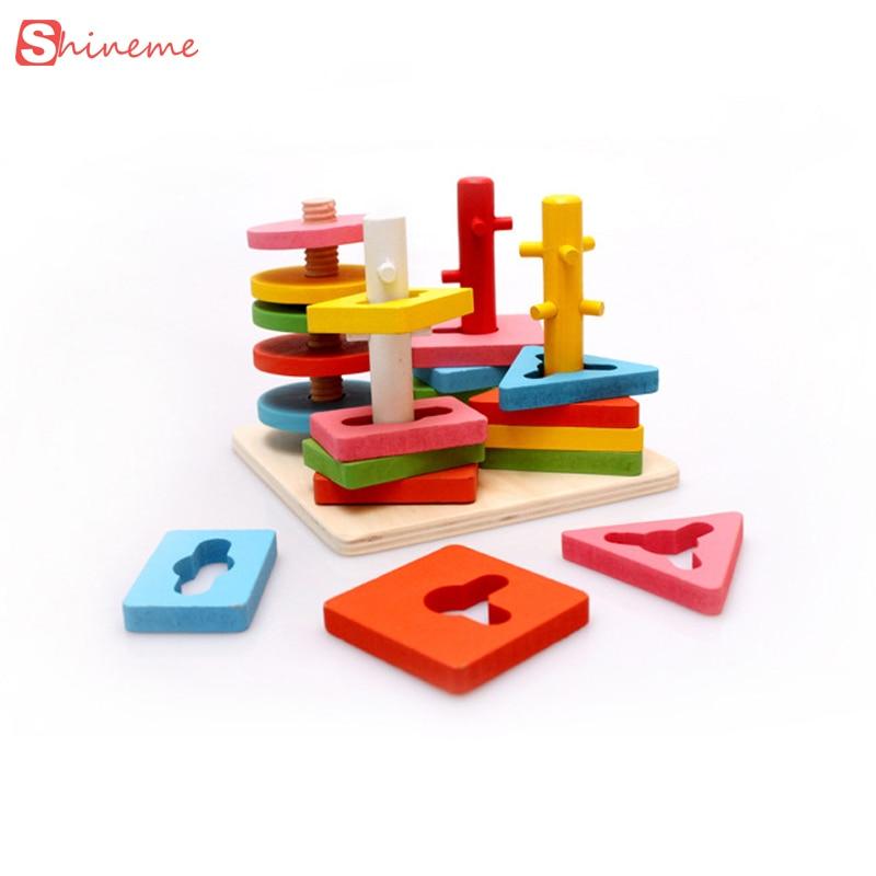 2017 new wooden column shapes stacking toys baby preschool educational geometric sorting board blocks montessori building Blocks