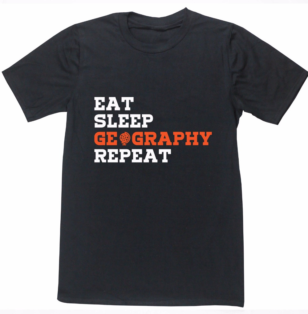 Hipster Tee Tops Eat Sleep Geography Repeat O-Neck Men Short Cotton Shirts