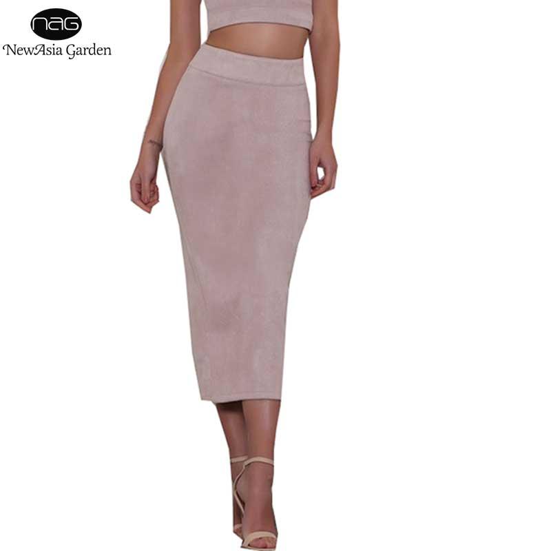 अच्छी गुणवत्ता स्कर्ट महिला उच्च कमर साबर स्कर्ट मिडी सर्दियों लंबी स्कर्ट शरद ऋतु वसंत वापस भट्ठा पेंसिल स्कर्ट खिंचाव साया