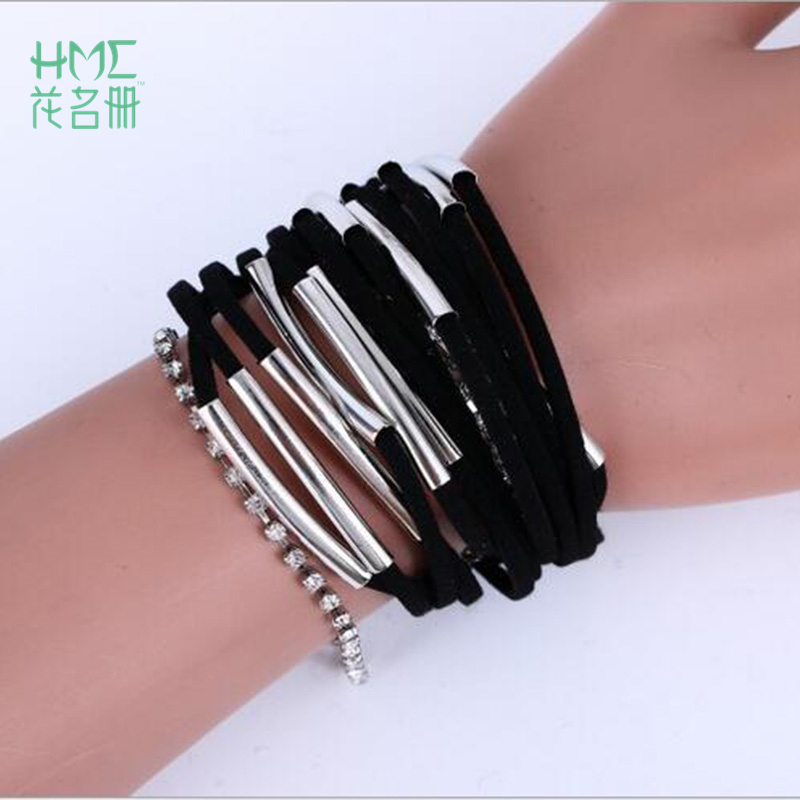 1pc Personality Popular Hand-Woven Multi-Layer Combination Bracelet Brazilian Style Beach Magnet Buckle Plus Metal Pipe Bracelet