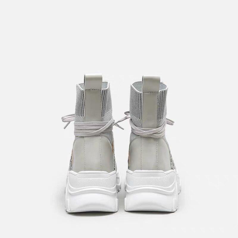 Lacets High La En Cuir Véritable Chaussures Respirantes Plate Noir Ugi Femmes Hiphop Mode forme Minimalistes Réel De À Des Femme gris Top Loisir gSZw64q