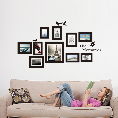 13pcs Wooden Photo Frames Set Black And White Home Decor Picture With Erfly Stickers