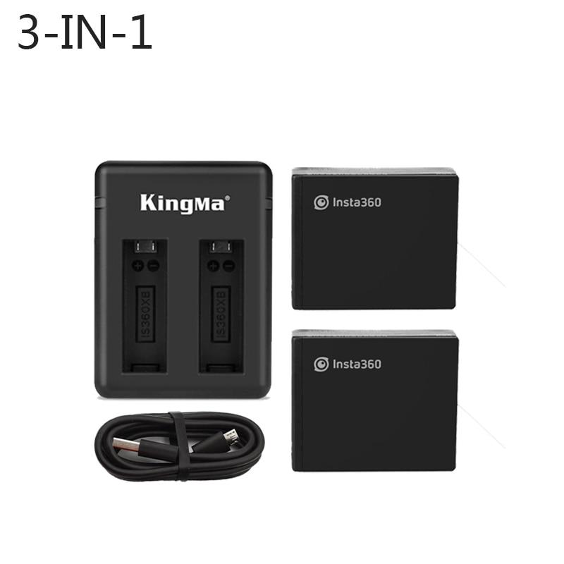 新 2 個オリジナルバッテリー 1200 mah 4.35 V 4.56Wh リポバッテリー + マイクロ/タイプ C ポートデュアル充電器 Insta360 One X アクセサリー  グループ上の 家電製品 からの スポーツ ビデオカメラ ケース の中 1