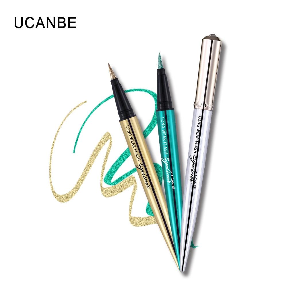 Ucanbe makeup glitter eyeliner pencil 5colors purple blue green eye liner waterproof long lasting liquid white eyeliner AU045 12
