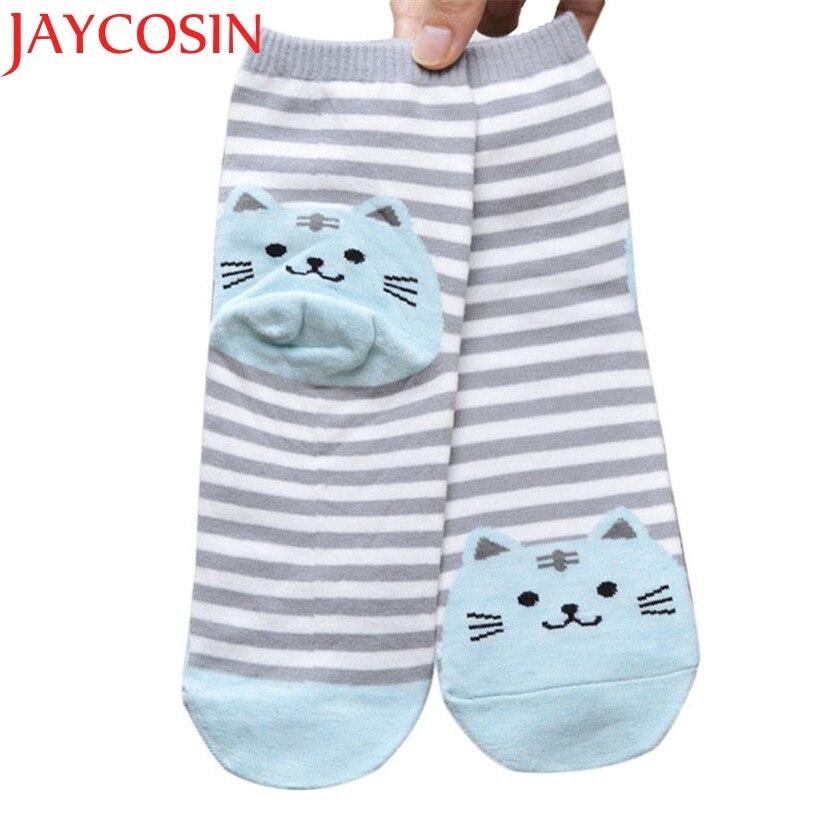 JAYCOSIN Newly Design Cute Cartoon Cat Socks Striped Pattern Women Cotton Sock Winter Drop Shipping Free Shipping