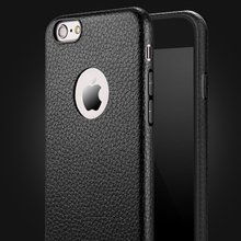 Logo Hole Case for iphone 7 plus iphone7 Leather Skin Soft Silicone Thin TPU Back Cover for Apple iphone 6 6s Plus Black Classic classic vertical genuine split leather skin case for iphone 4 4s all versions black