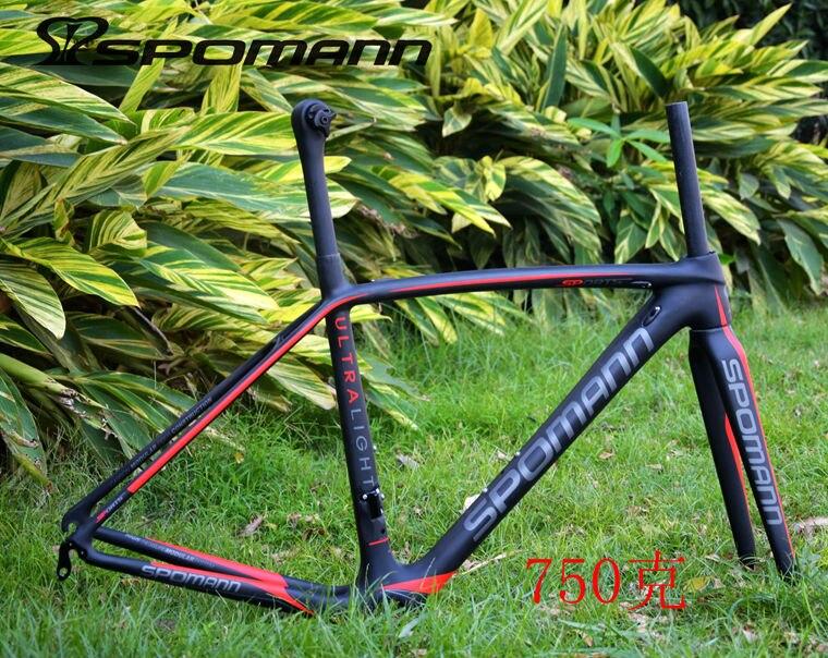 Le plus récent plus léger SPOMANN rouge vert 700C vélo de route mat UD plein cadres de vélo en fibre de carbone + fourche + tige de selle + casques + BB livraison gratuite