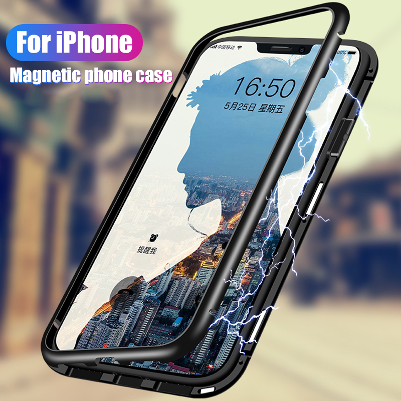 Metal Magnet Case For iPhone 8 7 6 6S Plus Xs Max XR X 6plus Case Ultra Magnetic Adsorption Phone Luxury Back Glass Cover Fundas iphone xr case magnetic