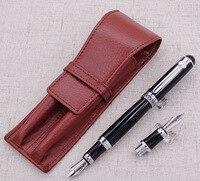 Duke D2 Black Medium Nib Fountain Pen with 1 PCS Calligraphy Fude Bent Nib & A Leather Pencil Case Bag Interchangeable Gift Set