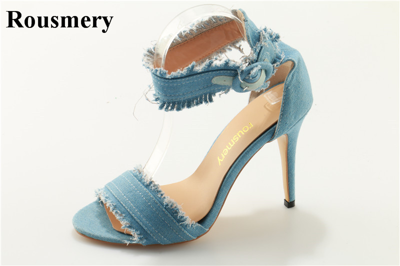 New Design Women Fashion Open Toe Blue Denim High Heel Sandals Ankle Strap Jean Sandals Casual Dress Shoes Free Shipping new design women fashion open toe patent leather ankle strap high heel sandals one strap dress sandals sexy dress shoes