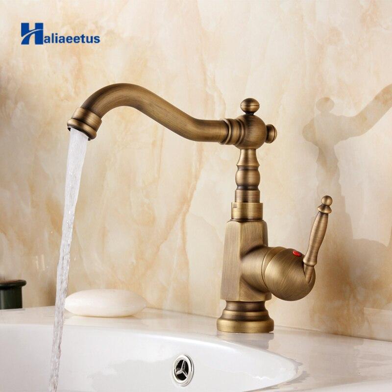 Nouveauté robinet de salle de bain à poignée unique en laiton Antique robinet d'eau chaude et froide 360 degrés robinet de lavabo rotatif AB-010