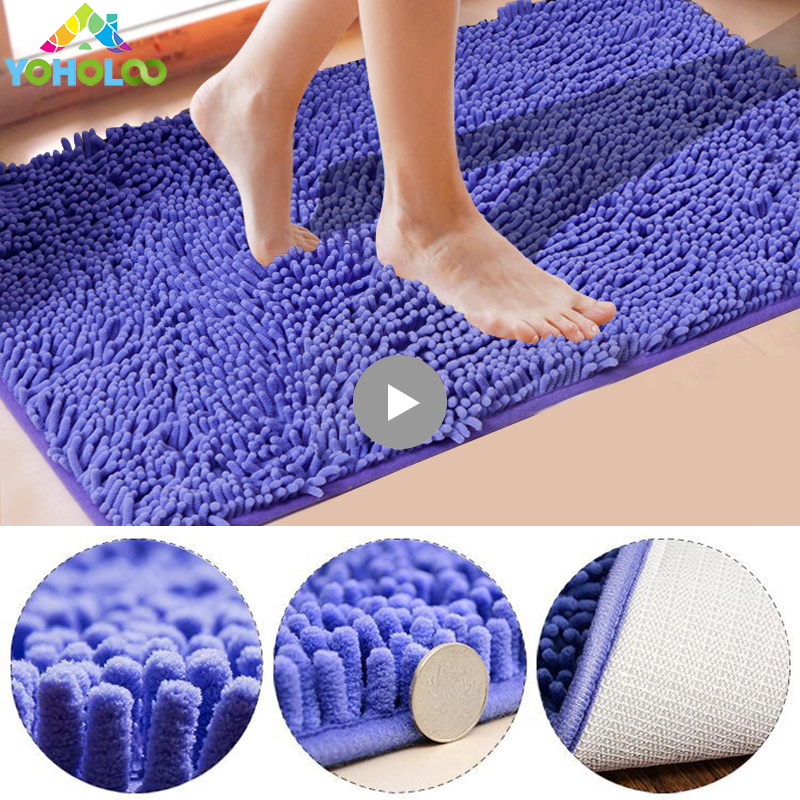 Thick Striped Bath Rugs Chenille Fabric Anti Slip Mats